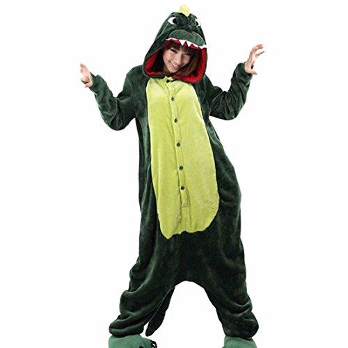 QIYUN.Z Unisexe Animal De Bande Dessinee Adulte Kigurumi Pyjama Doux Costume Cosplay De Vetements De Nuit Chaude Dinosaure Vert