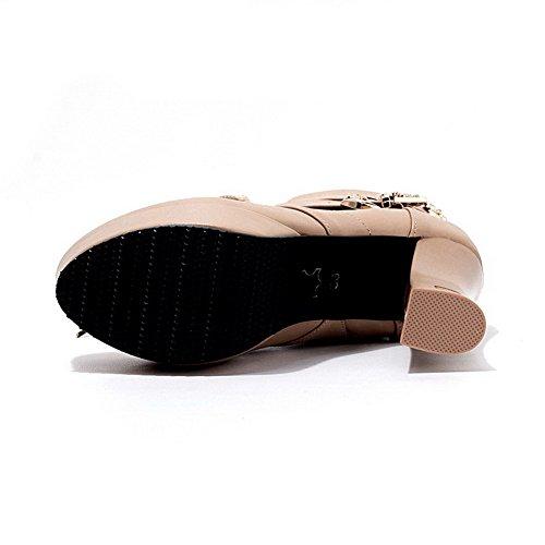 AgooLar Damen Pu Leder Mitte-Spitze Rein Schnüren Hoher Absatz Stiefel Aprikosen Farbe