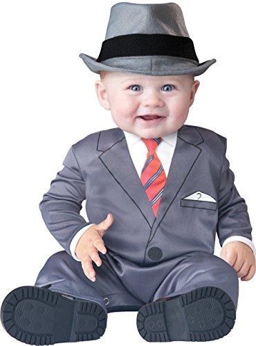 Jungen 1920s Jahre Gangster gatbsy büchertag Halloween Charakter Kostüm Kleid Outfit - grau, 6-12 Months (Gangster Baby Kostüm)