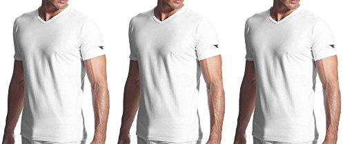Diadora 3 t shirt uomo mezza manica puro cotone scollo V underwear art. 6068