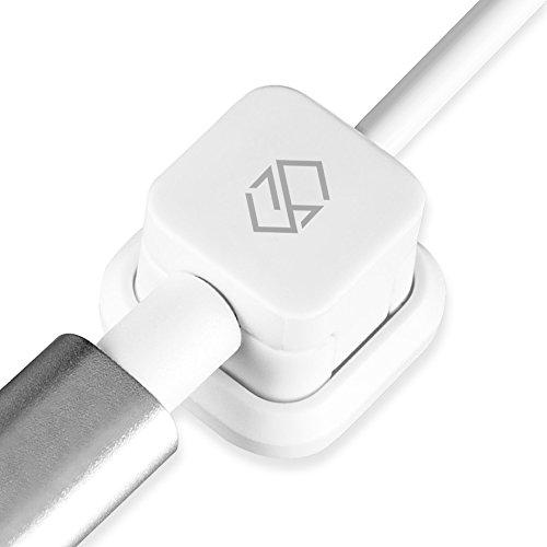 Sinjimoru Micro USB Kabel mit magnetischem Kabelclip, USB zu Micro USB Kabel für Android Smartphones mit Kabelführung. Magnetischer Kabelhalter mit Micro USB Ladekabel, Weiß. M9 Mobile