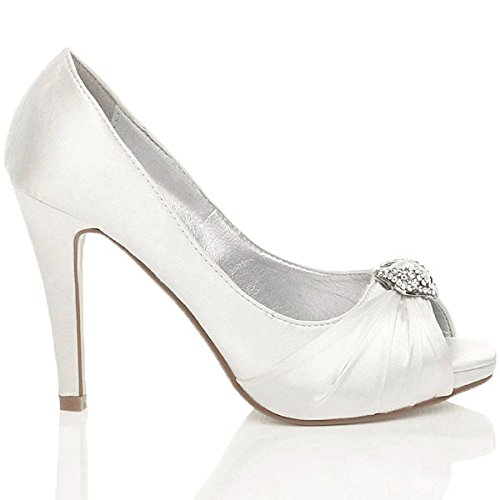 Damen Hoher Absatz Abschlussball Abend Hochzeit Braut Peep Toe Plateauschuhe Sandalen Größe Weiß