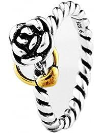 TAOTAOHAS oxidada antiguo dos tonos bicolor sólido plata de ley 925/1000 anillo [ anillo recordatorio, Talla 12 ]Top Ventas Regalo del Día de la Madre