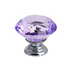 Tecrio 30mm Clear Purple Crystal Glass Diamond Shape Cabinet Knob Drawer Cupboard Pull Handle 12pcs-Pack