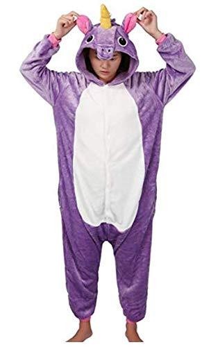 Pigiama o costume di carnevale halloween pigiama cosplay party onepiece intero animali unicorno regalo di compleanno per adulti adolescenziale ragazzi (xl(178-188cm), viola)