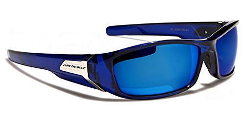 Arctic Blue Lunettes de soleil avec étui à lunettes–Sport–Cyclisme–Ski–La Course–Conduite (avec étui à lunettes/Vault), Noir Black Ice, m