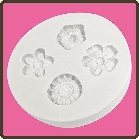 Cupcake, pasta di zucchero, Fondant, glassa, Stampo per decorazione Quartet Topper con fiori