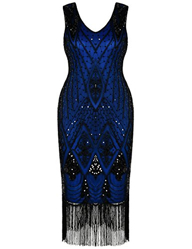 PrettyGuide Damen 1920er Gatsby Art Deco Pailletten Cocktail Charleston Kleid S Blau