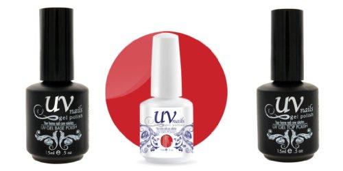 UV-Nails Vernis a Ongles Soak-Off Gel 15ml Love Bug #202 + Base & Top Coat 15ml + Aviva Polissoir a ongles