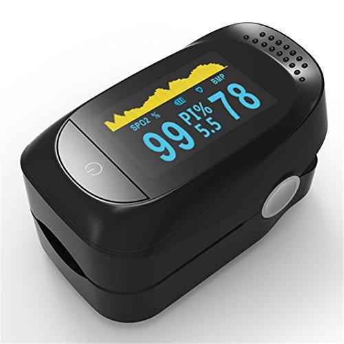 VEGCOO Pulsoximeter/Pulse Oximeter/Tragbares Fingerpulsoximeter mit 2-farbig OLED Display, Abmessung von Sauerstoffsättigung und Pulsrate in Blut (Schwarz)