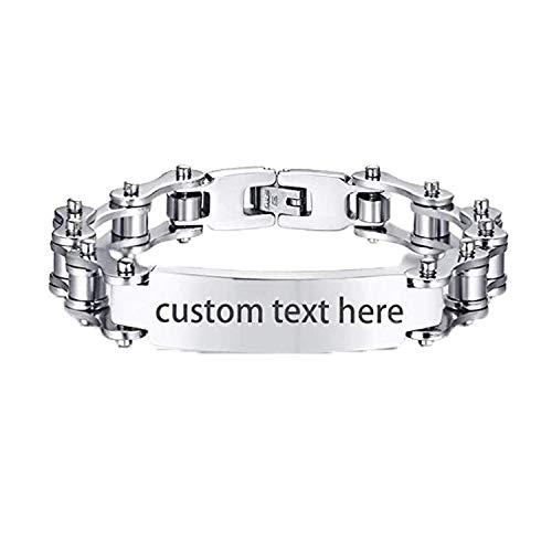 JewelryWe Schmuck Herren Armband mit Gravur, Edelstahl Poliert Fahrradkette Motorradkette Armreif Armkette, Silber