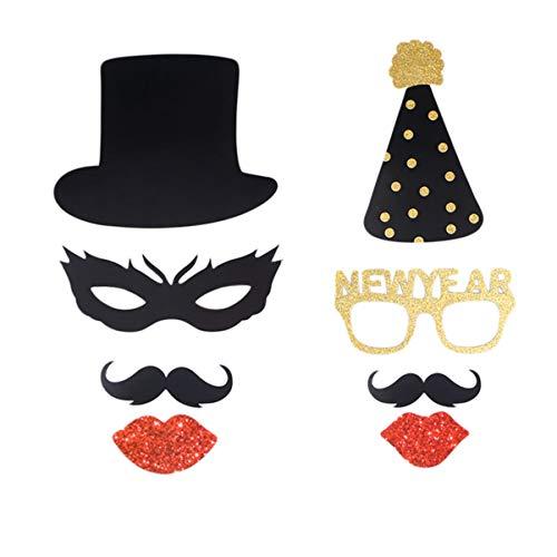 Toyandona 23 Stück New Year Foto-Requisiten Glitzer kreative Fotografie Zubehör für Motto-Party Kostüm-Party