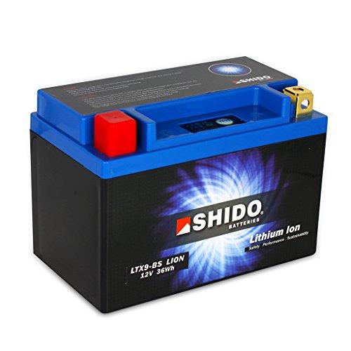Batterie 12V 3AH(8AH) YTX9-BS Lithium-Ionen Shido 50812 Adly ATV Sport Aeon Cobra RSII Aprilia Sportcity 300 VB