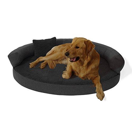 brunolie Peppo Hundebett waschbar, orthopädisch und rutschfest, Hundekissen mit kuscheligem Plüsch, Größe L, dunkelgrau