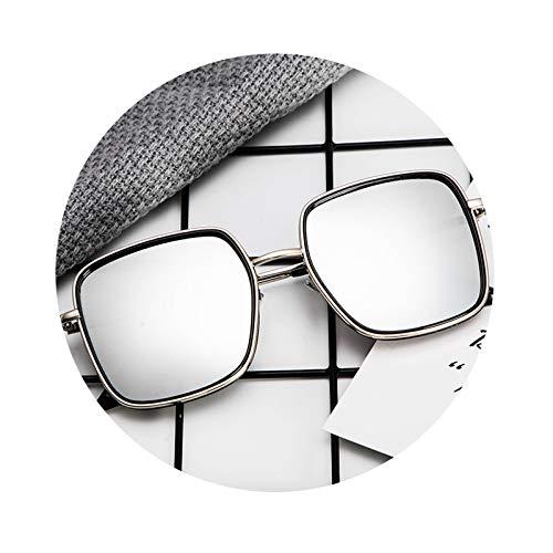 AmDxD Unisex Polarisierte Sonnenbrille | Linse aus PC | Quadrat Vollrand UV400 Schutz Mode Brille | Für Outdoor-Aktivitäten, Farradfahren - Silber