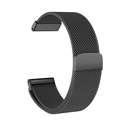 Prevently Unisex Edelstahl Uhrenarmband Milanese Magnetische Milanese-Schleife Edelstahlarmband-Uhrenarmband für Garmin Instinct (Black) - 12mm Gummi Uhrenarmband