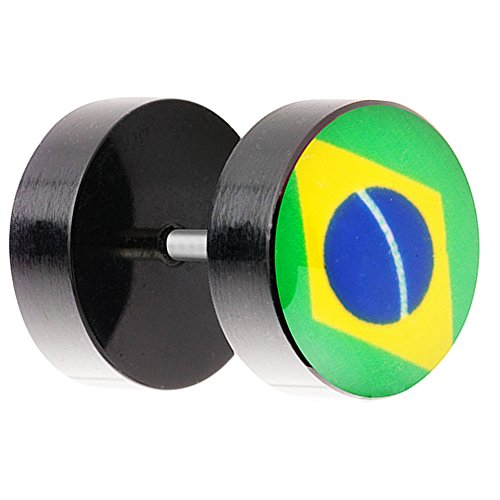 Ohrringe Piercing Fake Ohr Plug Flesh Tunnel Fahne Motiv Fussball EM & WM Fanartikel Land Flagge Schmuck Brasilien 8mm ()