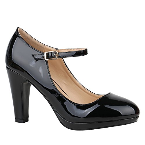 Stiefelparadies Damen Schuhe Pumps Mary Janes Veloursleder-Optik High Heels Blockabsatz 152429 Schwarz Lack Lack 37 Flandell