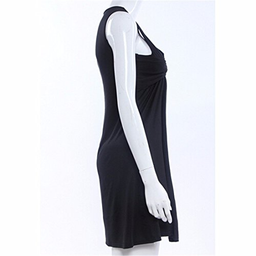QIYUN.Z Les Femmes De La Mode Robe D'Ete Sans Manches Sexy V Cou Jupe Epissage Nouveau Parti Noir