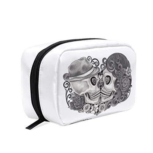 Bolsa maquillaje diseño calavera sombrero, bolsa