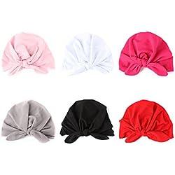 COUXILY Baby Hat 6 Unids Recién Nacido Elastico Stretch Head Wrap Infantil Turbante Niño Bebé Nudo Diadema (HP-C03)