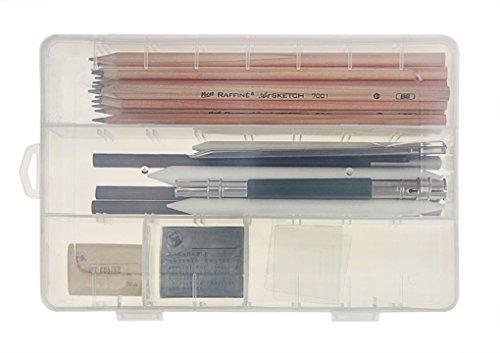 Bleistifte Holzkohle Skizzieren (26 Stück Zeichnung Bleistifte Skizze Set Radiergummi Holzkohle Bleistift Papier Pen Set für Schreiben Zeichnen Architektur und Skizzieren in einem sichtbaren Box)