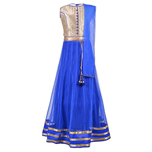 Aarika Girl's Party Wear Lehenga Choli and Dupatta Set (LCH-8743-BLUE_40_15-16 Years)