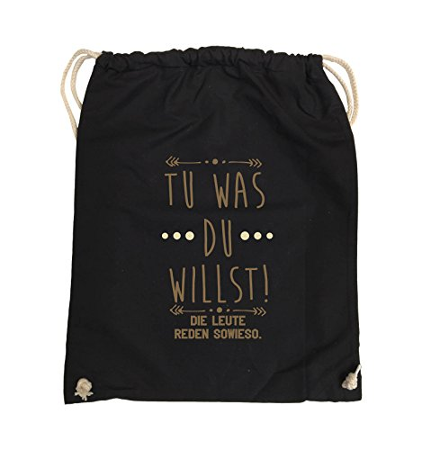 Comedy Bags - Tu was du willst! Die Leute reden sowieso. - Turnbeutel - 37x46cm - Farbe: Schwarz / Weiss-Neongrün Schwarz / Hellbraun-Beige