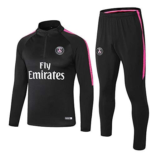 zhaojiexiaodian Paris Schwarz Langarm Fußballbekleidung Frühling und Herbst Jacke Aussehen Erwachsene Sweatshirts Trainingsanzüge, M