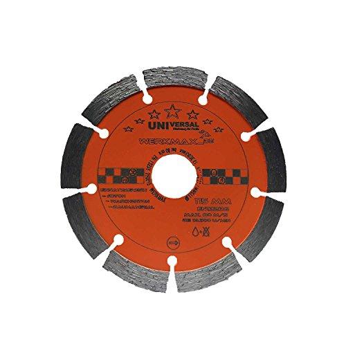 Diamanttrennscheibe Ø 115mm für Beton, Ziegel, Pflaster, Mauerwerk | Bohrung 22,2 mm für für Winkelschleifer | Unimax-115-22