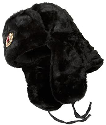 Winter Hat Russian Ushanka Black-58 Eagle badge
