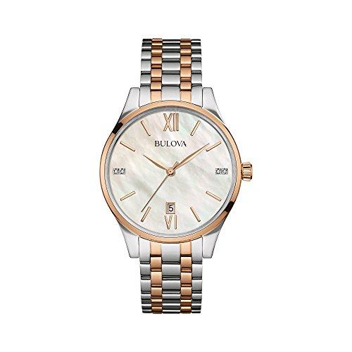 Reloj de pulsera de acero inoxidable con dos tonos de diamante para mujer de Bulova Diamonds 98P150.