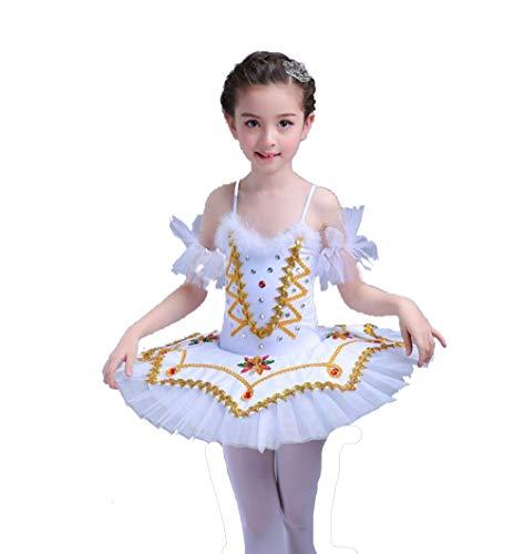 ZYLL Mädchen Ballettkleid, Mädchen Ballettkleid Little Swan Costume Female Tutu,White,120CM