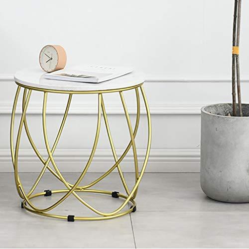 Nesting Couchtische in Gold Runde Metallkorb Marmor Top Akzent Beistelltische Hocker Dekorative Pflanze Stehen Stuhl for Schlafzimmer Wohnzimmer und Terrasse (Color : Gold) -