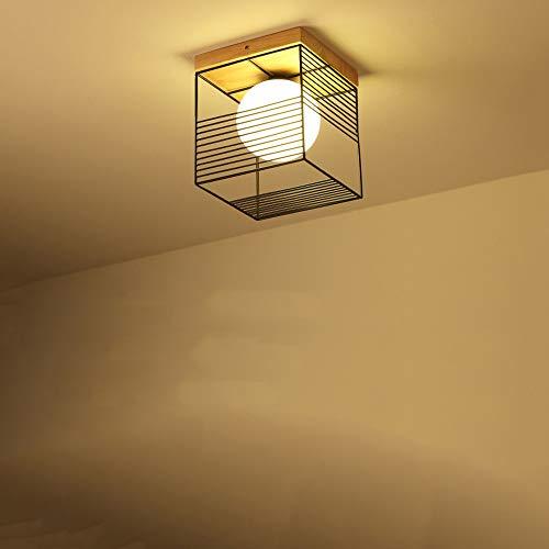 HviLit Plafoniera in Legno Creativa LED Cubo Quadrato Lampada da soffitto Moderna Montaggio Soggiorno Sala da Pranzo Risparmio energetico Illuminazione Ecologica Ferro da Stiro Cucina Camera da Letto