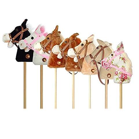 Cheval à bâton de la marque Pink Papaya, Lilly, cheval jouet mignon en peluche avec fonction sonore: bruits de galop et d