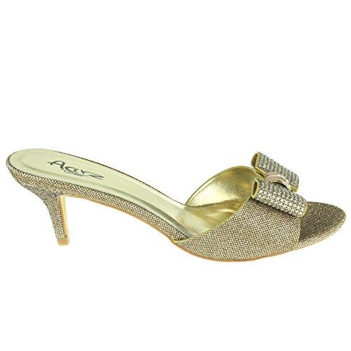 Frau Damen Bogen Detail Schlüpfen Abend Braut Hochzeit Party Prom Open Toe Mittel Absatz Sandale Schuhe Größe Bronze