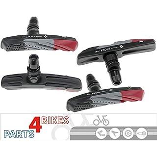 P4B Cartridge Bremsschuhe für V-Brake, Belag 3-farbig im Air-Flow-Design, 2 Paar = 4 Stück, Gehäuse-Farbe = schwarz matt