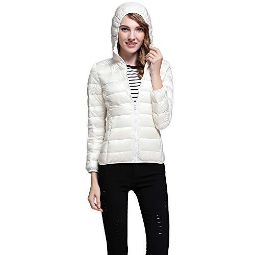 Yvelands Damen Kurz Daunenjacke mit Kapuzen, 90% weiße -
