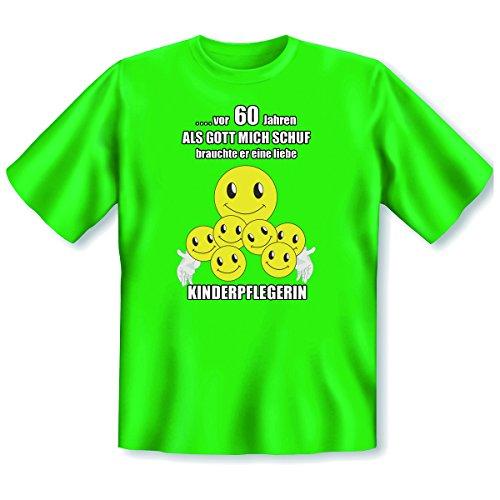 """orginelles und witziges T-shirt zum 60. Jahre Geburtstag Farbe: hell-grün """" ...vor 60 Jahren ALS...KINDERPFLEGERIN"""" Hell-Grün"""