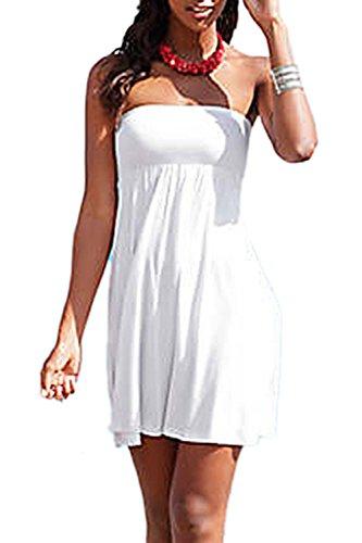 Sexy Neckholder-Swing-Mini-Strand-Kleid mit Gürtel Damen White