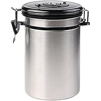 Edelstahldose Luftdicht Silber mit Deckel und Aromaverschluss Kakao Tee NHSUNRAY Gro/ß 1.8L Edelstahl Kaffeedosen f/ür 500g Kaffeebohnen