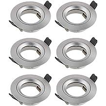 SEBSON® 6x Foco empotrable techo, redondo, aluminio, incl. GU10 casquillo (