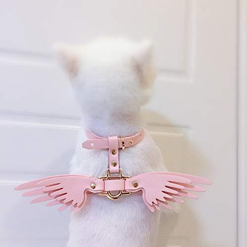 Hundehalsband Luxus-designer Leder Hundegeschirr Und Leine Set Mit Engel Flügel Für Kleine Und Mittlere Große Tiere Chihuahua Welpen Katze Rosa M -