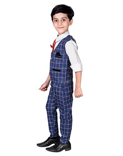 AHHAAAA Kids Waistcoat, Shirt, Tie and Trouser Set for Boys_RBLU571-22 Blue