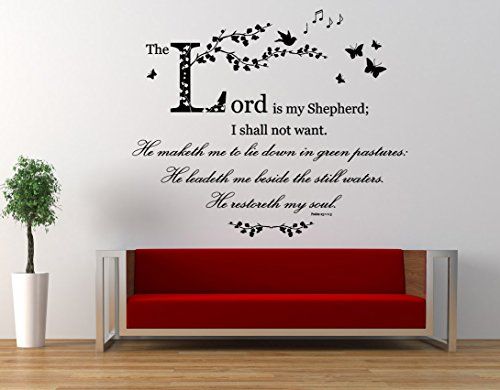 Psalm 23, Christian NIV Bible Verse Quote, The Lord is my Shepherd, Vinyl Wall Art Sticker, Mural, Decal. Home, Church, School Decor. Wall Decoration
