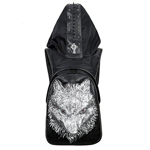 SZH 3D Wolf Muster Decot Durable Wasserdicht Pu Wanderrucksack Rucksack Laptop Rucksack Silver