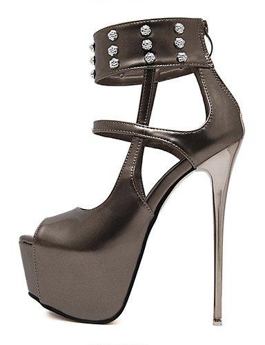 WSS 2016 Chaussures Femme-Habillé / Soirée & Evénement-Gris-Talon Aiguille-Talons / Bout Ouvert / A Plateau-Talons-Similicuir gray-us7.5 / eu38 / uk5.5 / cn38