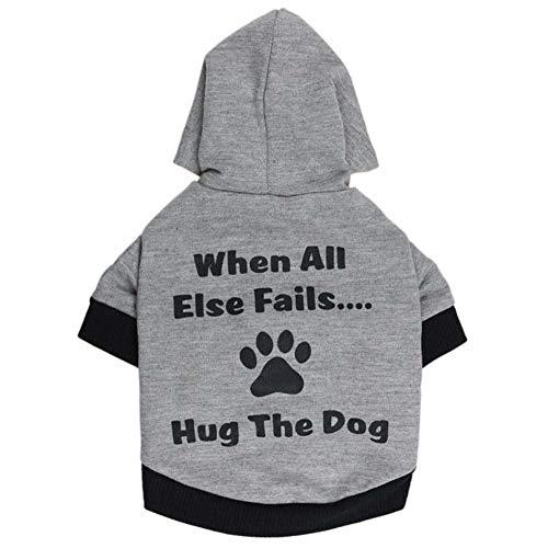 XGPT Hundebekleidung Haustier Kostüm Printed Hug The Dog mit Einem Kapuzenkleid,Black,S (Dog Halloween-kostüm Black)