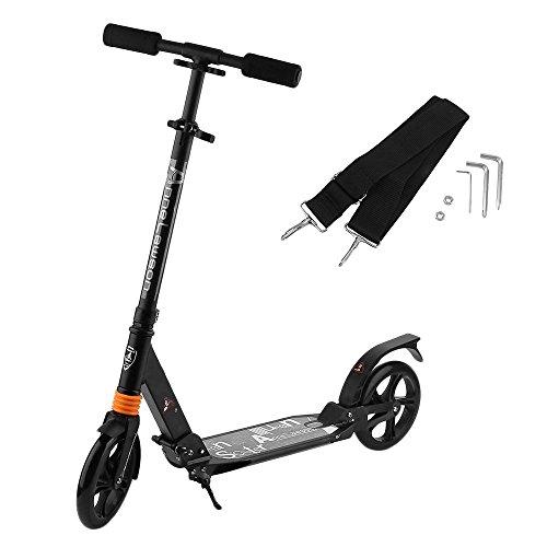 cimiva Scooter elettrico Monopattino per Adulti, Pattumiera a pedale Scooter 200mm ruote pieghevole e regolabile in altezza da 72cm a 103cm per ragazzi e bambini a partire dai 10anni fino a 100kg (Nero)